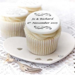Personalised Wedding Cupcake Toppers (Pack of 12)