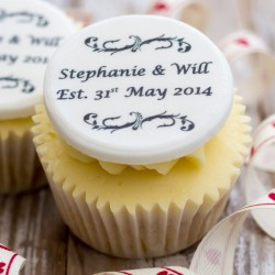 Personalised Wedding Anniversary Cupcake Toppers (Pack of 12)