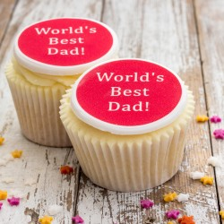 Personalised World's Best Dad Cupcake Toppers (Pack of 12)
