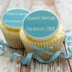 Personalised Baptism Cupcake Toppers (Pack of 12)