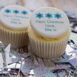 Personalised Christmas Snowflake Cupcake Toppers (Pack of 12)