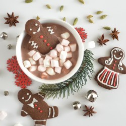 Hot Chocolate Set with Gingerbread and Marshmallows