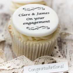 Personalised Engagement Cupcake Toppers (Pack of 12)