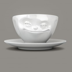 Espresso Cup and Saucer 'Grinning' in White Porcelain