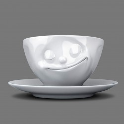 Espresso Cup and Saucer 'Happy' in White Porcelain