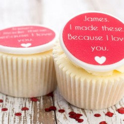 Personalised 'I Love You' Cupcake Toppers (Pack of 12)
