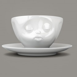 Espresso Cup and Saucer 'Kissing' in White Porcelain