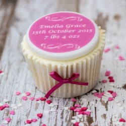 Personalised New Baby Cupcake Toppers (Pack of 12)