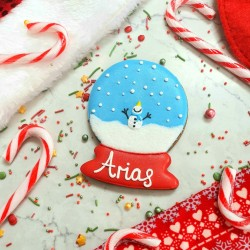 Personalised Christmas Snowglobe Biscuit