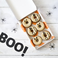 Halloween Ghost Pumpkin Spice Baked Doughnuts | Vegan and Refined Sugar Free (Box of 6)