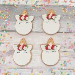 Festive Christmas Unicorn Face Cookie Set