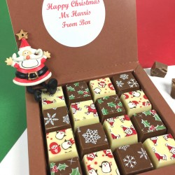 Personalised Christmas Mosaic Message Milk And White Chocolates