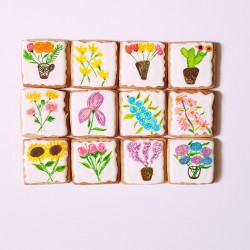 Hand Painted Floral Vegan Cookie Collection (12 Cookies)