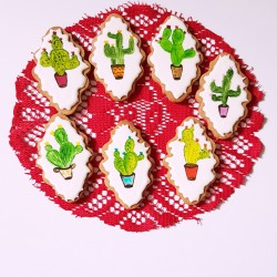 Hand Painted Cactus Vegan Cookie Collection (7 Cookies)