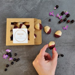 box of violet mini madeleines