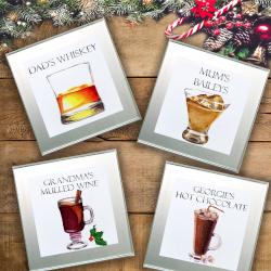 Set of 4 Personalised Christmas Signature Drinks Coasters, custom illustration
