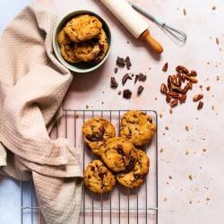 Dark Chocolate + Pecan Cookies