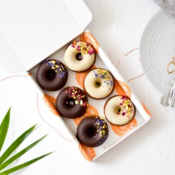 Vegan Baked Doughnuts | Dark Chocolate and Vanilla White Chocolate (Box of 6)