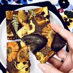 Spiced Chocolate Orange Floral Brownies