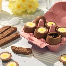 Chocolate Filled Eggs with Chocolate Toast Soldiers