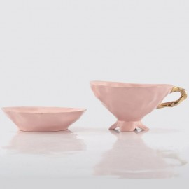 Pink Cup and Saucer with Gold