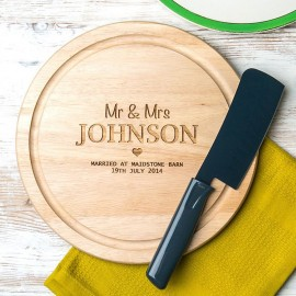 Personalised 'Mr And Mrs' Wedding Round Chopping Board