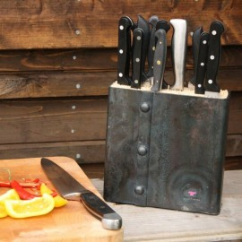 Hand Forged Riveted Universal Knife Block