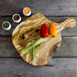 Large Rustic Olive Wood Chopping Board - Length 40cm