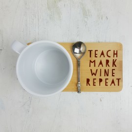 Personalised Teach Mark Wine Repeat Gift Coaster