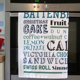 green british cakes tea towel