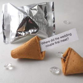 Each Wedding Fortune Cookie is individually foil wrapped