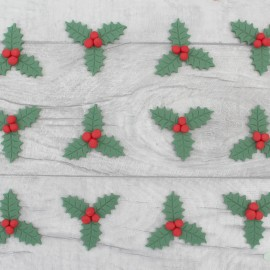 Edible holly leaves and berry cupcake toppers