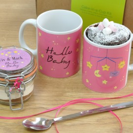 Personalised 'Hello Baby' Mug with Chocolate Cake Treat