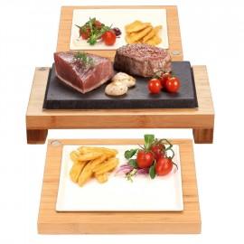 The Raised Steak Sharer & Server Hot Stone Cooking Set