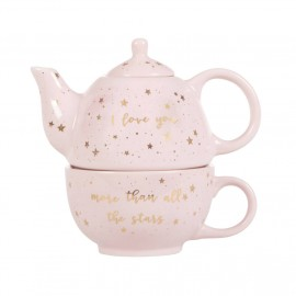 Pale Pink Cup and Teapot Set Gift