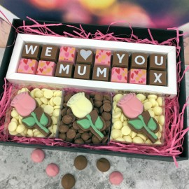 Personalised gift box of chocolates with roses
