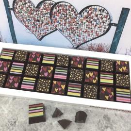 Cocoapod chocolate dark mosaic stripes stars hearts gift