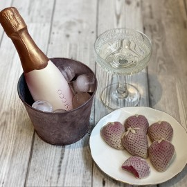 Chocolate Prosecco Bottle And Strawberries