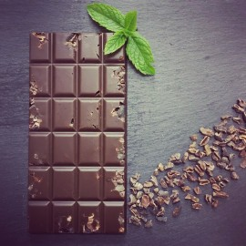Handmade Dairy Free Milk Chocolate Bars with Peppermint & Cacao Nibs (3 bars)