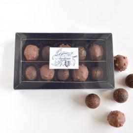 Dark, milk chocolates with sea salt caramel and hazelnut caramel