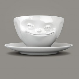 Espresso Cup, Grinning design, with saucer