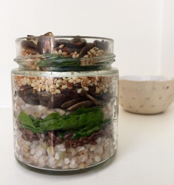 Buckwheat, Mixed Seeds and Spinach Salad Jar