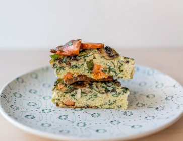 Spinach, Mushrooms, Cheese and Wild Smoked Salmon Frittata