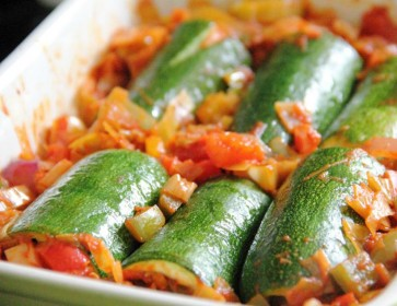 Tomato and Olive Courgette Cannelloni