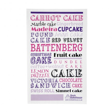 Pink British Cakes Tea Towel