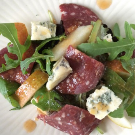 Venison Salami and Dunsyre Blue Salad with Pear