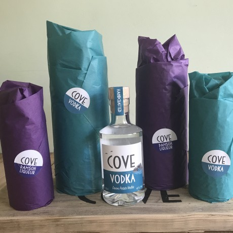Cove Vodka and Cove Damson Liqueur gift wrapped