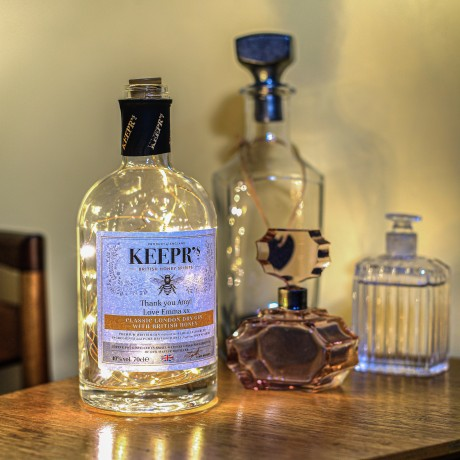 Personalised London Dry Gin with British Honey includes a bottle light