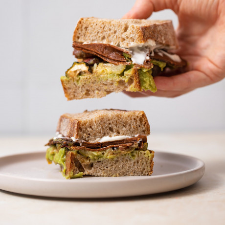 vegan pastrami style sandwich