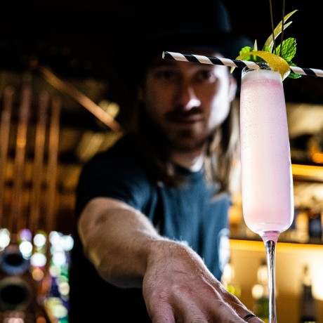 french 75 with Roobee Rhubarb Gijn